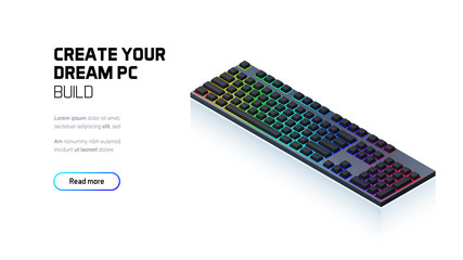 Computer RGB gaming keyboard 3d realistic isometric illustration, personal computer hardware components, custom gaming and workstation accessories, pc store and service Wall mural