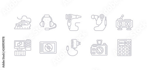simple gray 10 vector icons set such as calculator, camera