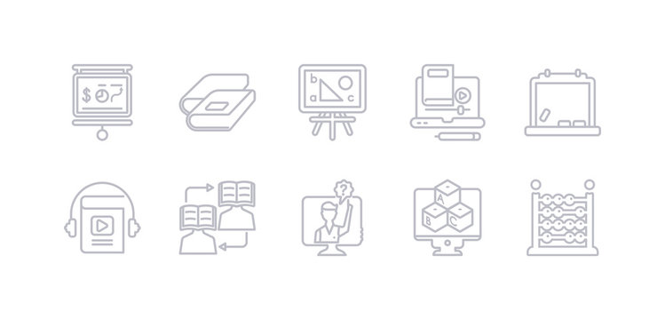 simple gray 10 vector icons set such as abacus, abc, ask, asynchronous learning, audiobook, blackboard, blended learning. editable vector icon pack