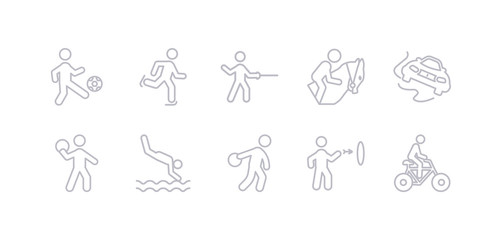 simple gray 10 vector icons set such as cycling, dart board, discus throw, diving sport, dodgeball, drifting, equestrianism. editable vector icon pack