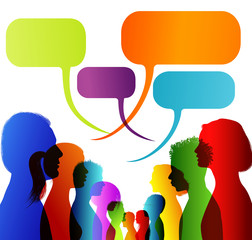 Faces silhouette head profile. Group of isolated multicolored people talking. Networking communication. Crowd speaks. Speech bubble. Dialogue with multi-ethnic people. Social network