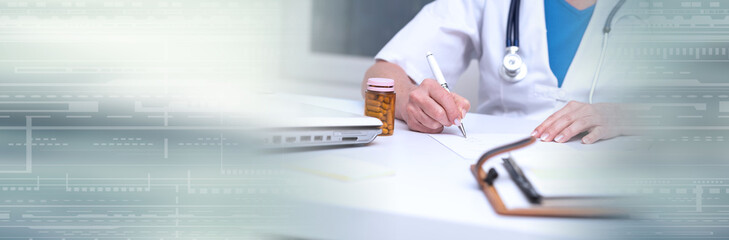 Female doctor writing prescription. panoramic banner