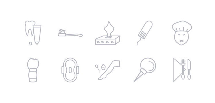 simple gray 10 vector icons set such as nasal aspirator, pedicure, sanitary napkin, shaving brush, shower cap, tampon, tissue. editable vector icon pack