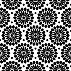 Endlosmuster Abstrakte Blumen Schwarz/Weiß