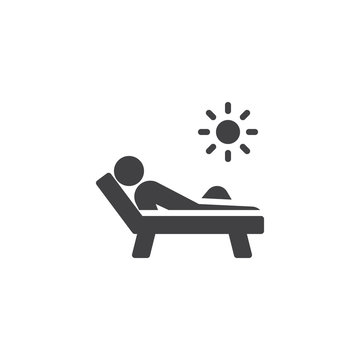 Man sunbathing vector icon. filled flat sign for mobile concept and web design. Man relaxing on a chaise longue glyph icon. Solarium symbol, logo illustration. Pixel perfect vector graphics