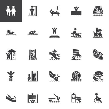 Water park slides vector icons set, modern solid symbol collection, filled style pictogram pack. Signs, logo illustration. Set includes icons as aqua park swimming pool, sunbathing , summer vacations