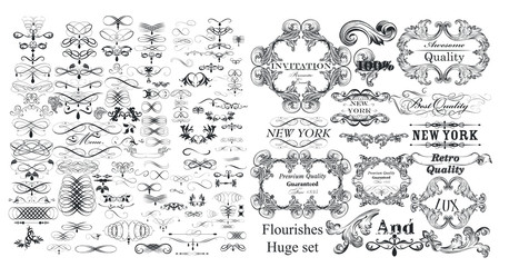 Big collection of vector flourishes and calligraphic elements in vintage style