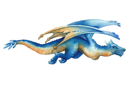 Flying watercolor dragon in blue colors in the side view.