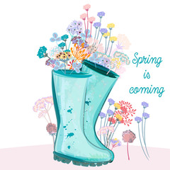 Fashion spring illustration with green rubber boots and flowers for design