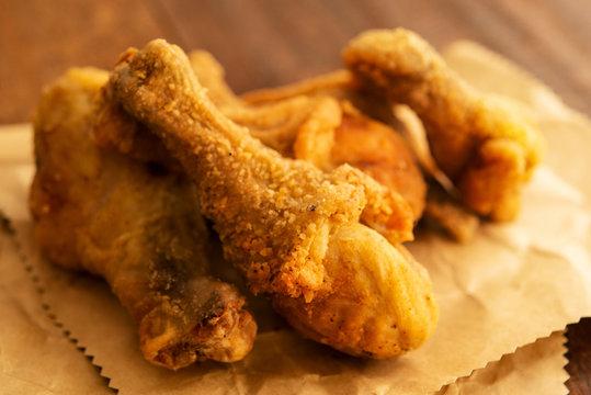 Close up original recipe fried chickens