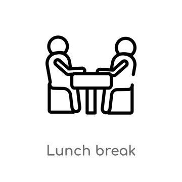 outline lunch break vector icon. isolated black simple line element illustration from people concept. editable vector stroke lunch break icon on white background