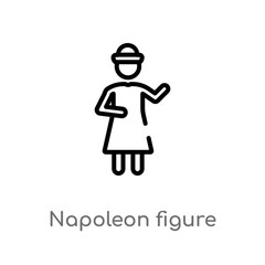 outline napoleon figure vector icon. isolated black simple line element illustration from people concept. editable vector stroke napoleon figure icon on white background
