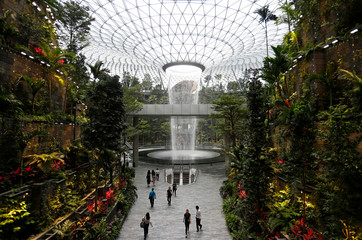The 40-metre high Rain Vortex, which is the world's tallest indoor waterfall, is seen from inside Jewel Changi Airport in Singapore