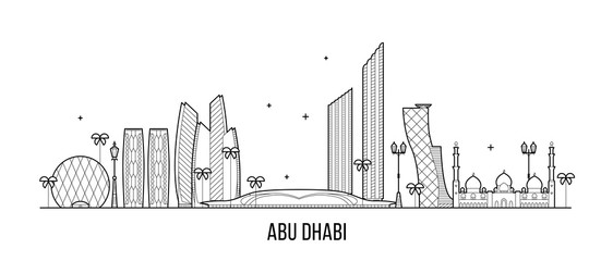 Wall Mural - Abu Dhabi skyline United Arab Emirates UAE vector