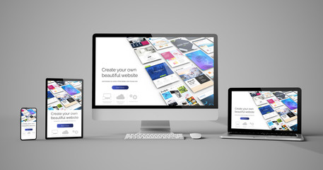 Wall Mural - responsive devices isolated design website builder
