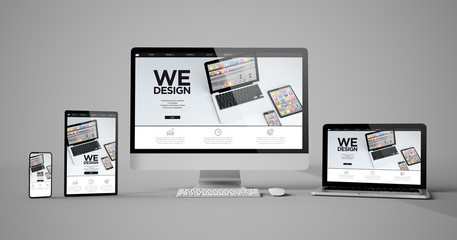 Wall Mural - responsive devices isolated design