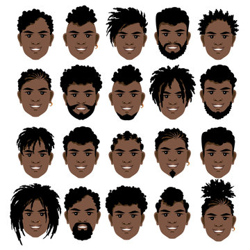 Big set of black smiling  men's faces with dreadlocks, beards and mustache .  Vector illustration.