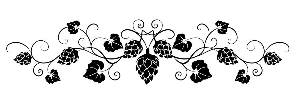Black curly ornament with hop branches,  leaves and crown. Hop cones. Design element for brewery, beer festival, bar, pub . Vector illustration.