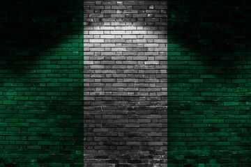 Nigeria flag on brick wall at night