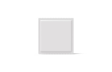 White blank sachet packaging for food, cosmetics and medicines, mock up template on isolated white background, 3d illustration