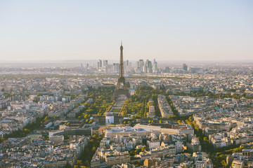 Paris skyline, Eiffel tower in the center, France, Europe