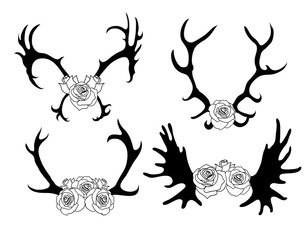 Set of black and white silhouettes of deer and elk horns with flowers. The object is separate from the background. Vector element for scrapbooking, invitations and your design