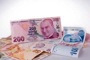 Turksh Lira banknotes of various color, pattern and value