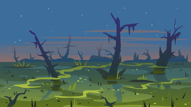 Dark swamp landscape with dead trees in fog around plants, terrible mystical place, swamp with bulrush plants at twilight, disgusting smelly mysterious place background