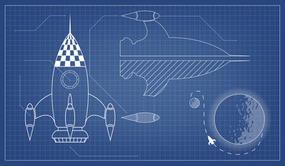 vector blueprint of the spaceship