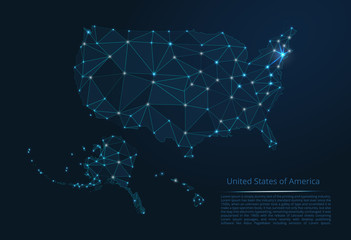 The map of the network of the United States of America. Vector low-poly image of a global map with lights in the form of a population density of cities consisting of shapes in the form of stars