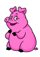 Fat pink pig cartoon illustration isolated image