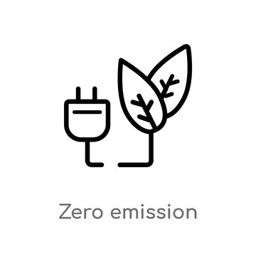 outline zero emission vector icon. isolated black simple line element illustration from smart house concept. editable vector stroke zero emission icon on white background