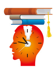 Nerhigh school, school crazy, exams, books, isvous student before exams. Stylized Illustration young man red silhouette with watch ,exclamation markand and books as graduation cap. Vector available.