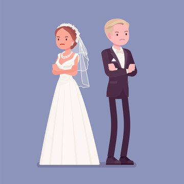 Angry offended bride and groom on wedding ceremony. Unhappy man and woman in beautiful white dress on traditional celebration, sad married couple. Marriage customs and traditions. Vector illustration