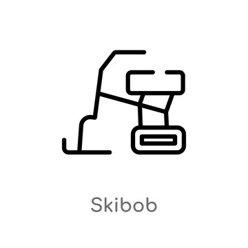 outline skibob vector icon. isolated black simple line element illustration from sports and competition concept. editable vector stroke skibob icon on white background