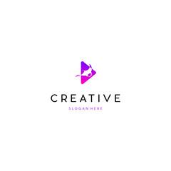 Manta Ray Musical Media Play Creative Business Logo