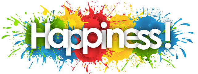 happiness word in splash's background Wall mural