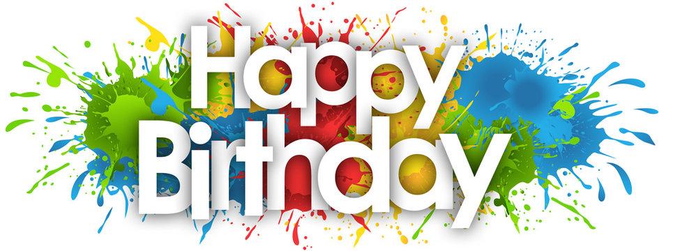 happy birthday word in splash's background