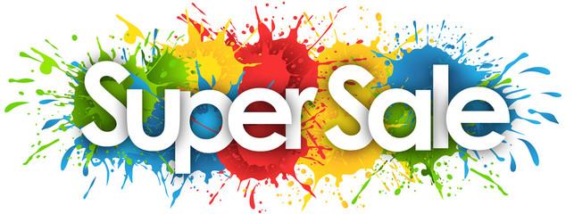 super sale word in splash's background