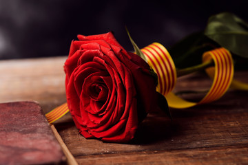 book, red rose and catalan flag