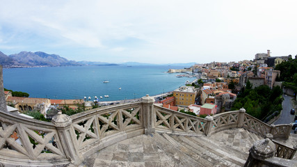 Stairs down to Gaeta, Lazio. Italy..Gaeta is a city and comune in the province of Latina, in Lazio, central Italy.