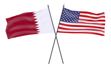 Qatar and USA, two crossed flags isolated on white background. 3d image