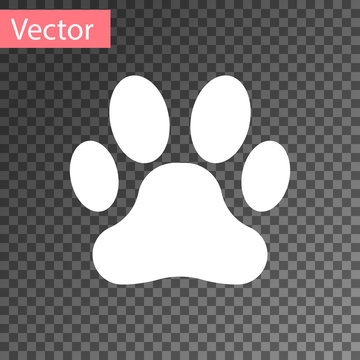 White Paw print icon isolated on transparent background. Dog or cat paw print. Animal track. Vector Illustration
