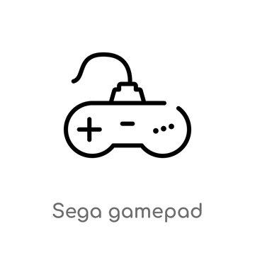 outline sega gamepad vector icon. isolated black simple line element illustration from technology concept. editable vector stroke sega gamepad icon on white background
