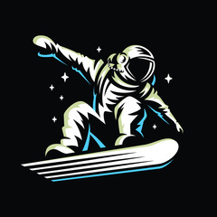 astronaut rides on snowboard through the universe.Space vector illustration.