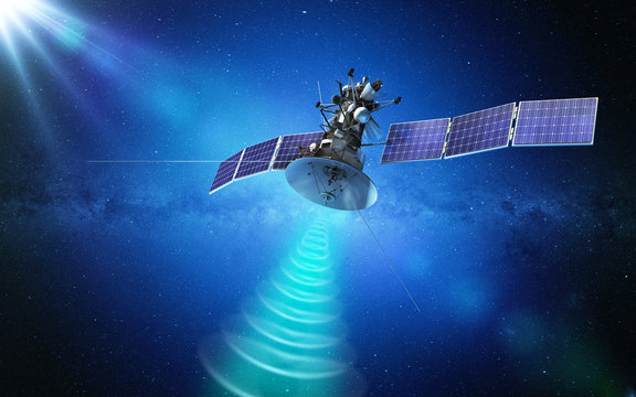 Communication satellite transmitting a signal in space. 3d rendering