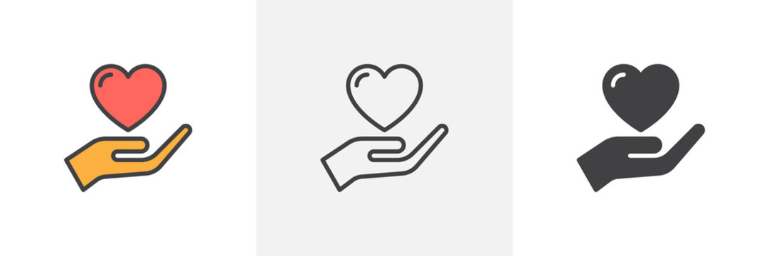 Hand holding heart icon. Line, glyph and filled outline colorful version, Heart in hand outline and filled vector sign. Trust symbol, logo illustration. Different style icons set. Vector graphics