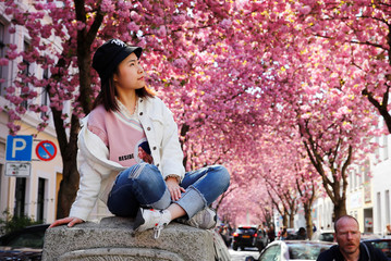 A student from China gets a picture taken at the so-called Cherry Blossom Avenue in Bonn