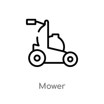 outline mower vector icon. isolated black simple line element illustration from agriculture farming concept. editable vector stroke mower icon on white background