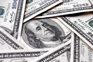 One hundred dollar bills. Photo, macro, view